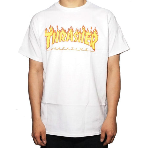 Thrasher Flame Tee White-50-50 Skate Shop