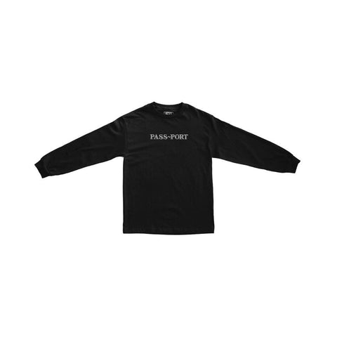 Passport Official Sweaty Embroid Long Sleeve Tee Black - 50-50 Skate Shop