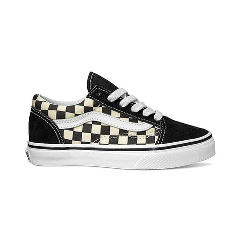 Vans Kids Old Skool (Primary Check) Black/White - 50-50 Skate Shop