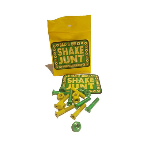 Shake Junt Skateboard Deck Bolts SJ All Green/Yellow Phillips-50-50 Skate Shop