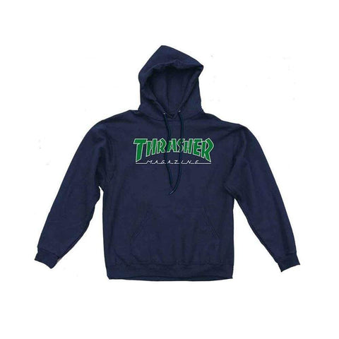 Thrasher Outlined Hoodie Navy Blue - 50-50 Skate Shop