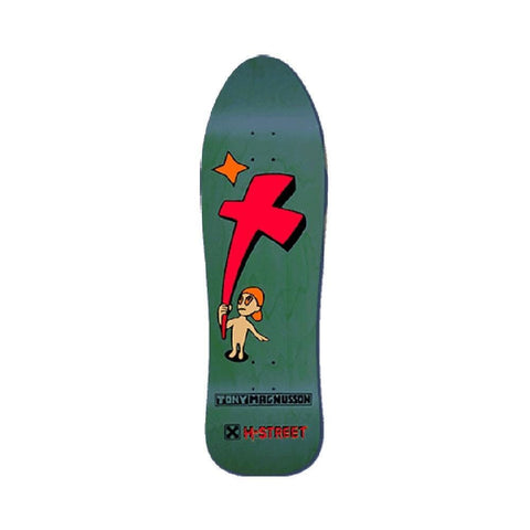 "H-Street Skateboard Deck T-Mag Kid & The Cross Original Reissue 9.75"" x 33"" Dyed Green Wood-50-50 Skate Shop"