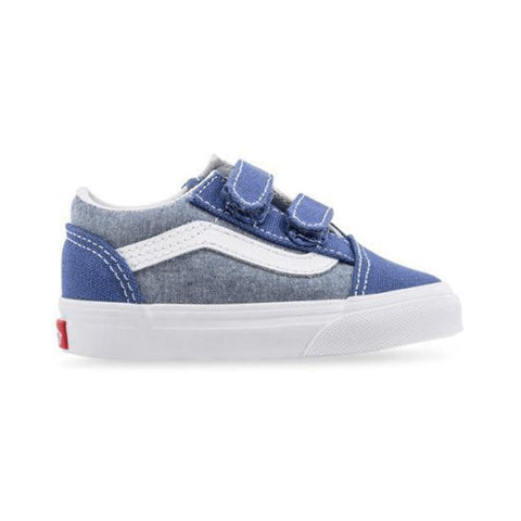 Vans Toddler Old Skool V (Chambray) Canvas True Navy True White - 50-50 Skate Shop