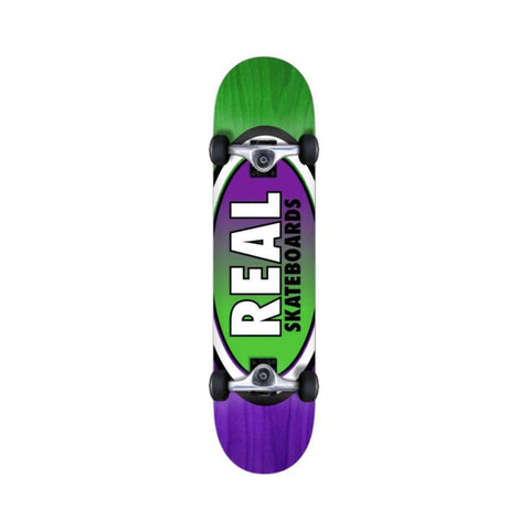 "Real Skateboard Complete Oval Two Fades 7.75"" Purple Green - 50-50 Skate Shop"