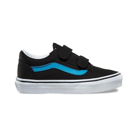 Vans Kids Old Skool V Black Vivid Blue - 50-50 Skate Shop