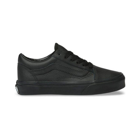 Vans Kids Old Skool (Leather) Black Mono - 50-50 Skate Shop