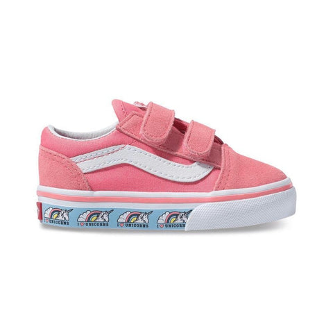 Vans Toddlers Old Skool V (Unicorn) Strawberry Pink True White - 50-50 Skate Shop