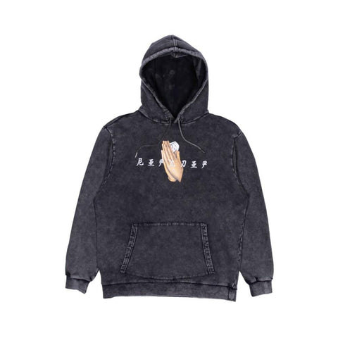 Ripndip Hoodie Chaos Embroidered Black Mineral Wash-50-50 Skate Shop