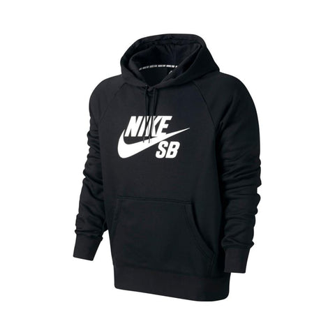 Nike SB Icon Hoodie Black White-50-50 Skate Shop