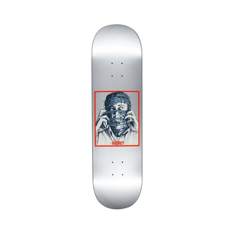 "Hockey Skateboard Deck Donovan Piscopo Barbwire 8.38"" x 31.85"" Silver-50-50 Skate Shop"