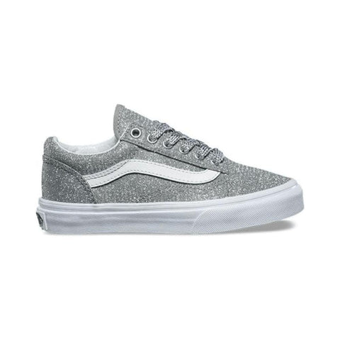 Vans Kids Old Skool (Lurex Glitter) Silver True White - 50-50 Skate Shop