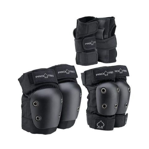 Pro Tec Street Gear Junior Skate Knee Elbow Wrist Gaurd 3 Pack Pads Black - 50-50 Skate Shop