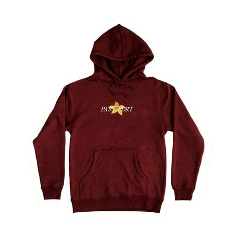 Passport Daffodil Applique Hoodie Maroon-50-50 Skate Shop
