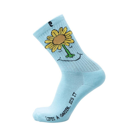 Psockadelic Socks Garden Blue Single Pair-50-50 Skate Shop
