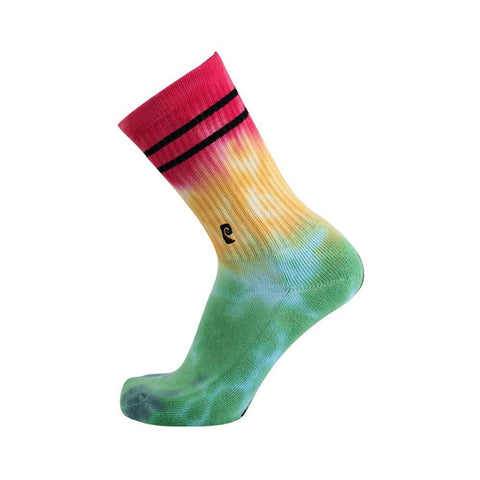 Psockadelic Tie Dye Socks Green Yellow Red-50-50 Skate Shop