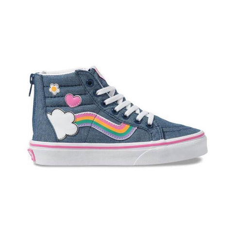 Vans Toddler Sk8 Hi Zip Rainbow Sidestrip Denim True White Multi - 50-50 Skate Shop