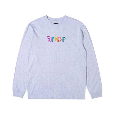 Ripndip Long Sleeve Tee Embroidered Logo Heather Grey-50-50 Skate Shop