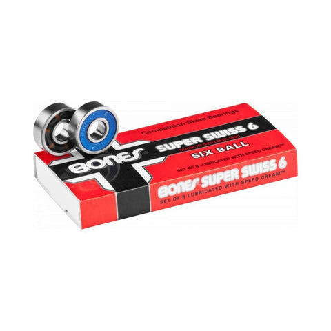 Bones® Super Swiss 6 Skateboard Bearings (8 pack) - 50-50 Skate Shop