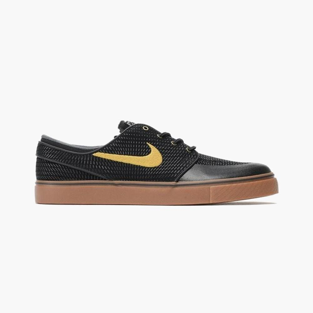 Nike Zoom Stefan Janoski PR SE Black Metallic Gold GM MD Brown White-50-50 Skate Shop