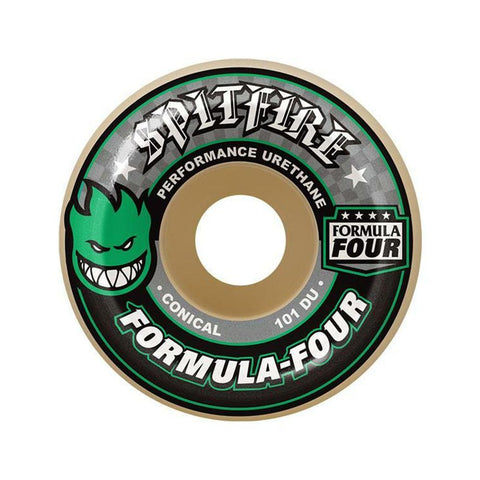 Spitfire Skateboard Wheels F4 101D Conical 56mm Green - Set of 4-50-50 Skate Shop