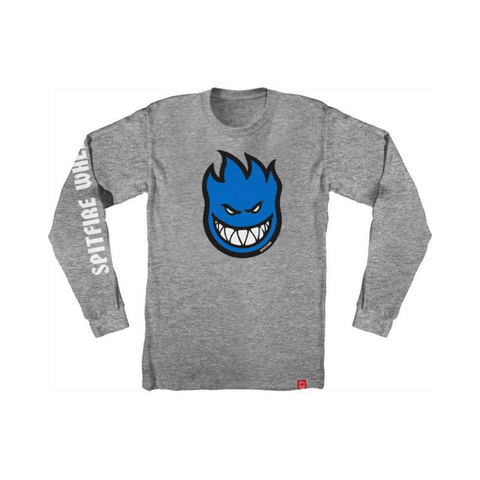 Spitfire Youth Long Sleeve Tee Bighead Fill Heather Grey - 50-50 Skate Shop