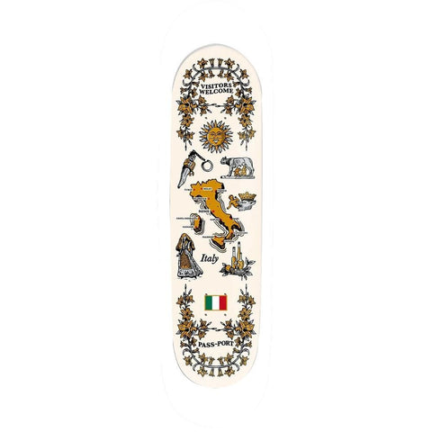 "Passport International Tea Towels Skateboard Deck Italy 8.5""-50-50 Skate Shop"