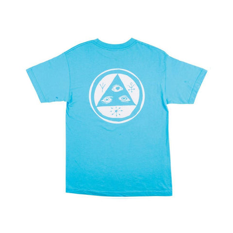 Welcome Talisman Mono Tee - Blue/White Puff Print - 50-50 Skate Shop