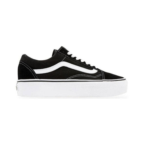 Vans Womens Old Skool Platform Black White-50-50 Skate Shop