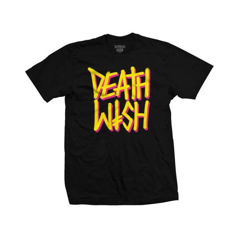 Deathwish Tee - Deathstack OG Black Yellow - 50-50 Skate Shop