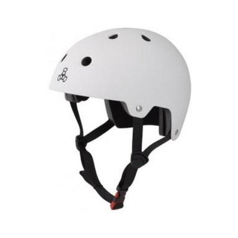 Triple 8 Certified Helmet SS All White Rubber-50-50 Skate Shop