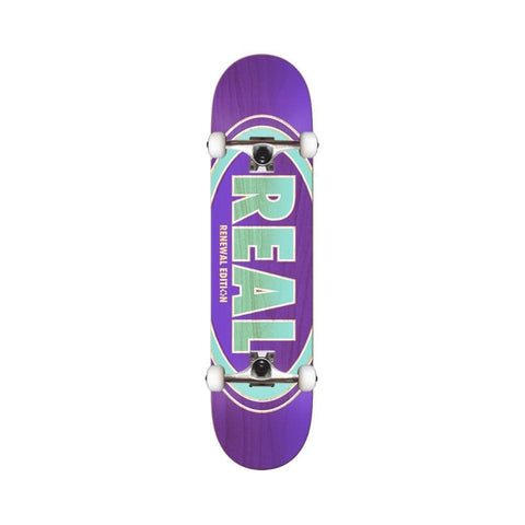"Real Skateboard Complete Duofade Oval 7.56"" Purple Teal-50-50 Skate Shop"