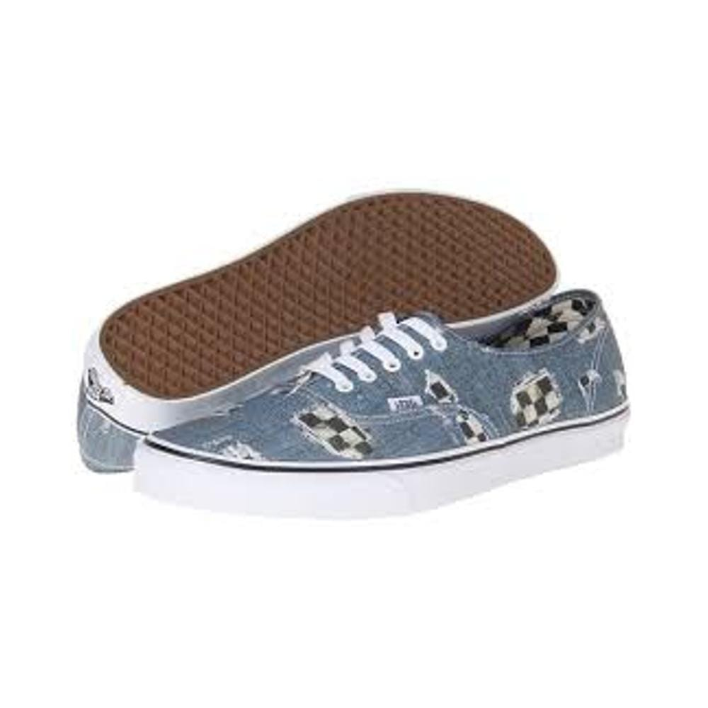 Vans Authentic Denim Checkered Blue True White-50-50 Skate Shop