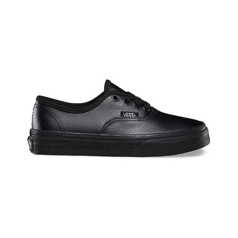 Vans Kids Authentic (Leather) Black Mono - 50-50 Skate Shop