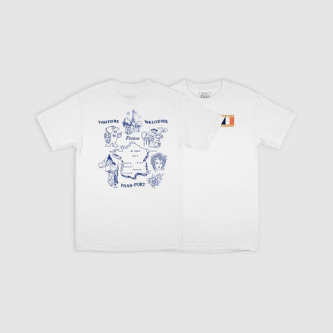 Passport Tea Towel France Tee White - 50-50 Skate Shop