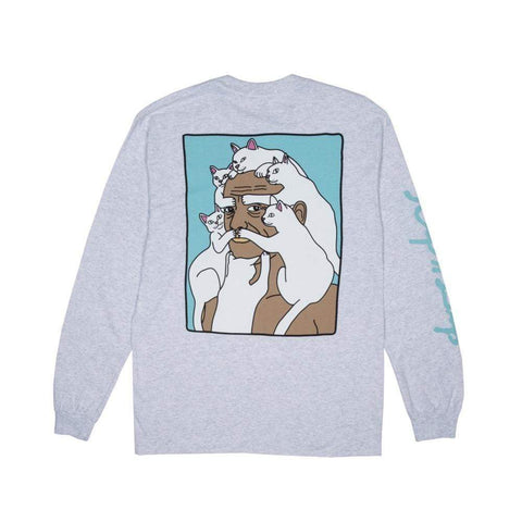 Ripndip Nermal Beard Long Sleeve Tee White Speckle - 50-50 Skate Shop