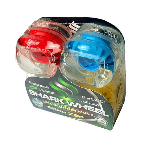 Shark Skateboard Wheels California Roll 60mm x 78A Clear Multi Hub (Mint,Blue,Yellow,Red Hub)-50-50 Skate Shop