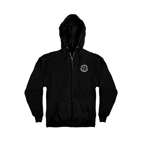 Anti Hero Zip Hoodie Basic Pigeon Round Logo Black White - 50-50 Skate Shop