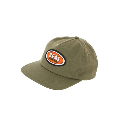 Real Cap Adjustable Oval Patch Olive Orange - 50-50 Skate Shop