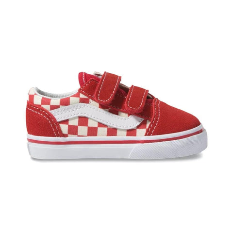 Vans Toddlers Old Skool V (Primary Check) Racing Red - 50-50 Skate Shop