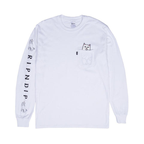 Ripndip Lord Nermal Pocket Long Sleeve Tee White - 50-50 Skate Shop