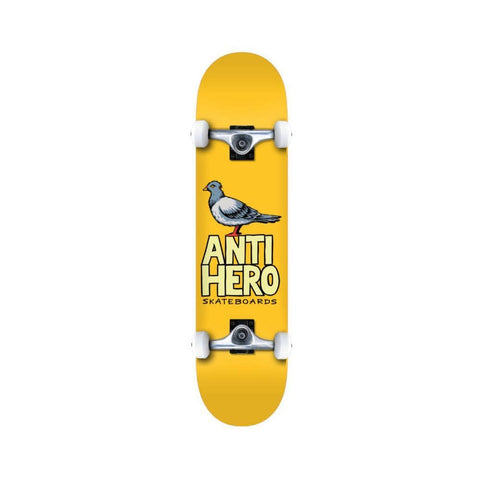 "Anti Hero Skateboard Complete Pigeon Hero 7.38"" x 29.13"" Mini Yellow - 50-50 Skate Shop"