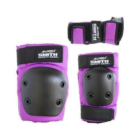 Smith Scabs Youth Tripack Pad Set Knee Elbow Wrist Guards Purple-50-50 Skate Shop