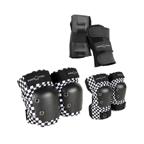 Pro Tec Street Skate Junior Knee Elbow Wrist Guard 3 Pack Pads Checker - 50-50 Skate Shop