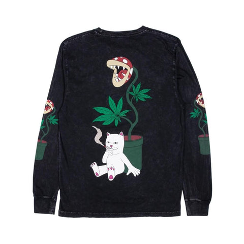 Ripndip Herb Eater Long Sleeve Tee Black Mineral Wash-50-50 Skate Shop