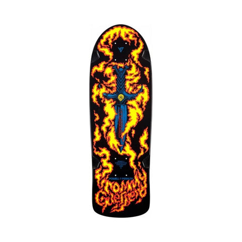 "Powell Bones Brigade Tommy Guerrero Flaming Dagger Reissue Skateboard Deck Black - 9.6"" x 29.18"""