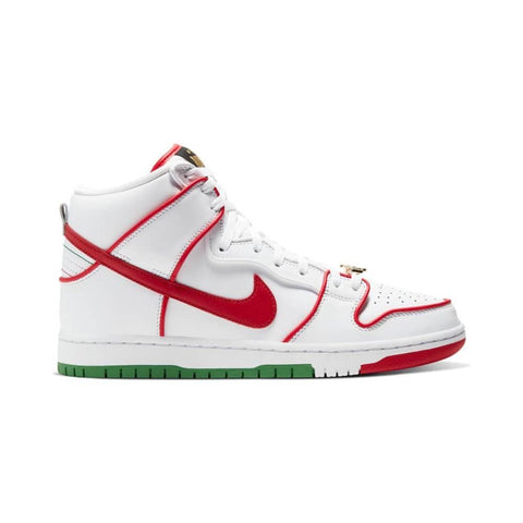 Nike SB Dunk High Premium White University Red White Classic Green-50-50 Skate Shop