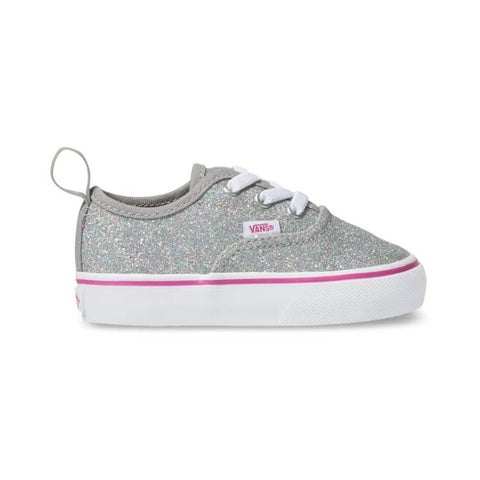 Vans Toddler Authentic Elastic Lace (Glitter Textile) Silver True White - 50-50 Skate Shop