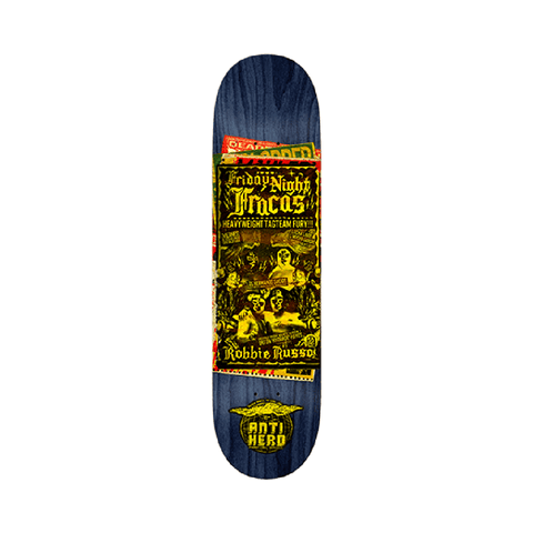 "Anti Hero Skateboard Deck Russo Friday Night 8.75"" x 32.75"" Black - 50-50 Skate Shop"