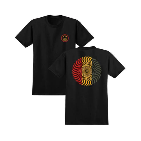 Spitfire Tee Classic Swirl Black Red Green - 50-50 Skate Shop
