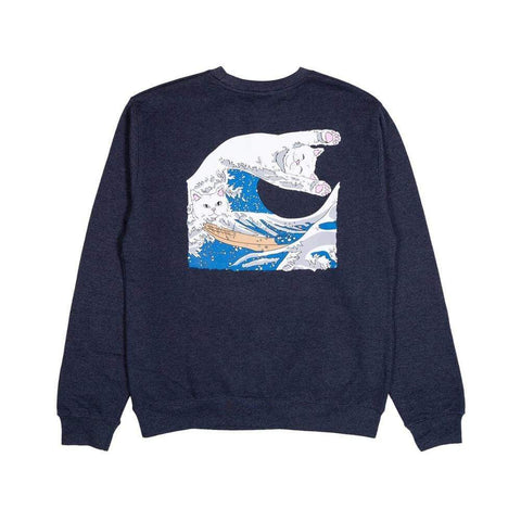 Ripndip Crewneck Great Wave Navy. - 50-50 Skate Shop